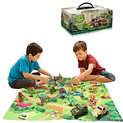 Wenosda Figura de Juguete de Dinosaurio con tapete de Juego, Dino Playset Dragon con tapete de Alfombra y Juguetes educativos para niños