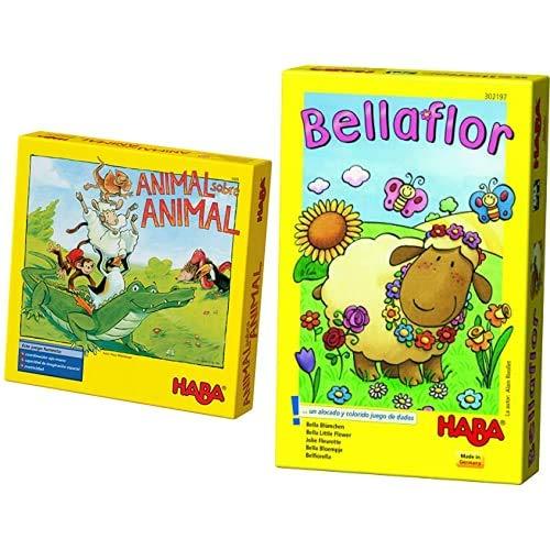 HABA ESP (3409), Juego de apilamiento para 2-4 Jugadores a Partir de 4 años, con Figuras de Animales de Madera, también se Puede Jugar en Solitario + Bellaflor-ESP (302197)
