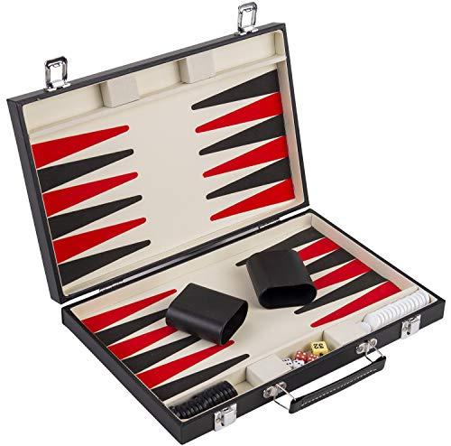 Engelhart - Conjunto de Backgammon Rojo Blanco y Negro de 36 cm. - 250505