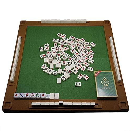 El más nuevo China Mahjong China China Mahjong Juegos de Mahjong con mesa plegable Juego de mesa de viaje Mini 144 Mahjong Set de azulejos Conjunto de juego Tamaño portátil y liviano (Color: marfil bl