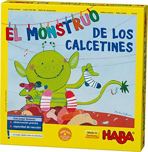 HABA Monstruo de los Calcetines-ESP (302255), Juego de búsqueda 2-6 Jugadores de 4 a 99 años, reacción rápida y Consejos para el Desarrollo del lenguaje, para Toda la Familia