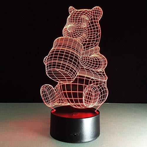 Oso de dibujos animados come miel varios colores interruptor de lámpara de mesa 3D acrílico LED dormitorio decoración de la sala de estar regalo