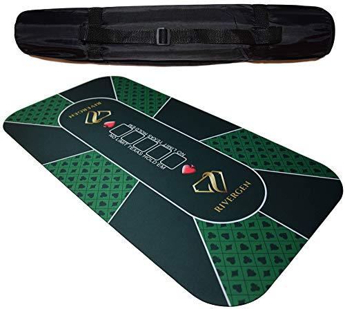 Rivergen Alfombra de póker 120 x 60 cm (Verde) Espesor 3 mm | Bolsa de Transporte incluida | Tapete de Póker | Alfombra de póquer Texas Holdem | Antideslizante