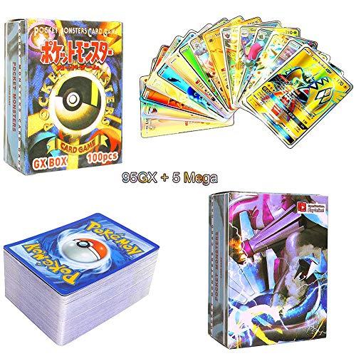 LICHENGTAI Pokemon Cartas GX, 100 Piezas Tarjetas Pokemon, Paquete De Cartas Pokemon, Pokemon Cartas Flash Cards, Juego De Cartas De Pokemon, Cromos Pokemon, Juegos Cartas Niños