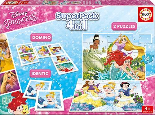 Educa- Superpack Princesas Disney Princess Pack de Domino, Identic y 2 Puzzles, Juego de Mesa, Multicolor (17198)